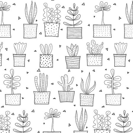 Hand Drawn Tropical Cactus Pattern. Vector Illustration Background. 일러스트