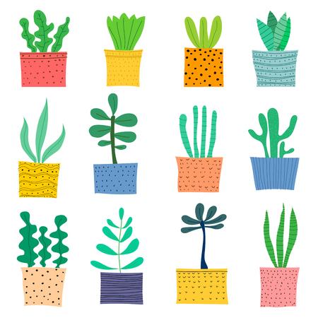 Hand Drawn Doodle Cactus Vector Set. Handmade Vector Illustration.