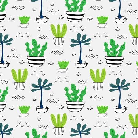 Pattern With Hand Drawn Plants In Pots. Vector Illustration Background.