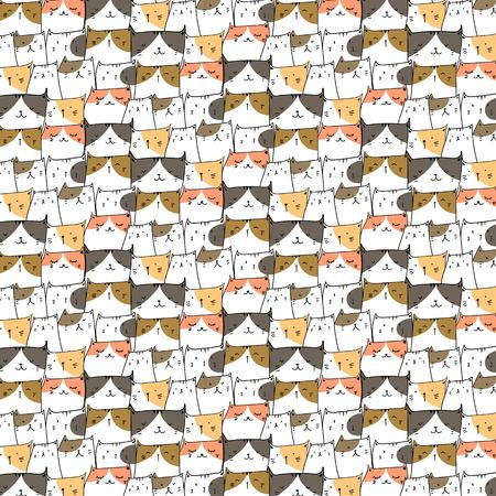 Hand Drawn Cute Cats Vector Pattern Background. Doodle Funny. Handmade Vector Illustration. Illustration