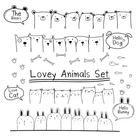 Hand Drawn Doodle Cute Animal Set. Include Bear, Cat, Bunny And Dogs. Vector Illustration.
