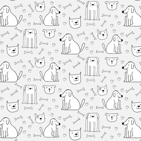Hand Drawn Cute Dogs Pattern Background.