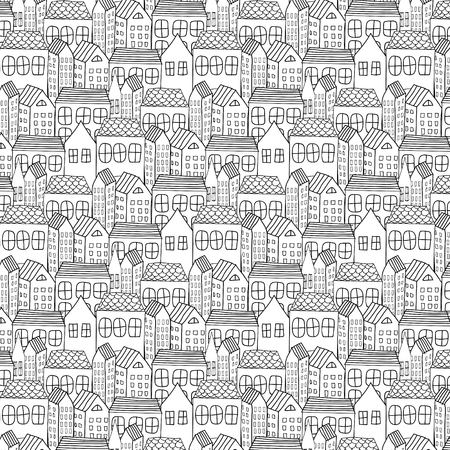 Hand Drawn Pattern With City Background.