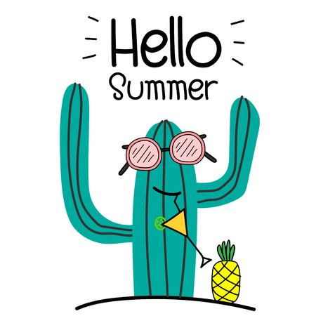 Hello Summer Concept With Fun Cactus And Pineapple.