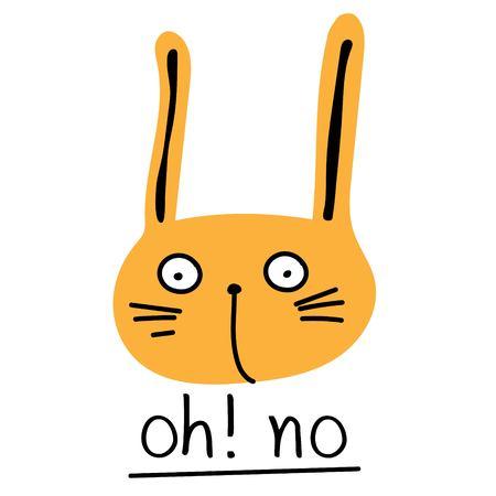 Cute Bunny. Vector Illustration With Orange Rabbit.
