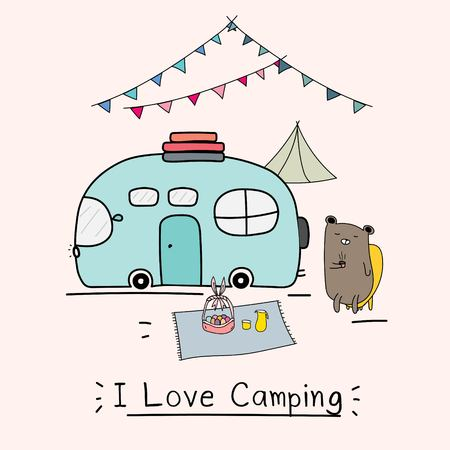 I Love Camping Concept With Cute Bear And Camping Car. Vector Illustration For Kids.