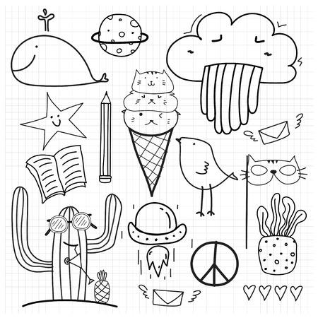 Hand Drawn Doodle Vector Set. Doodle Funny Set. Handmade Vector Illustration. Illustration