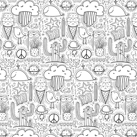 Pattern With Hand Drawn Doodle Lovely Background. Doodle Funny. Illustration