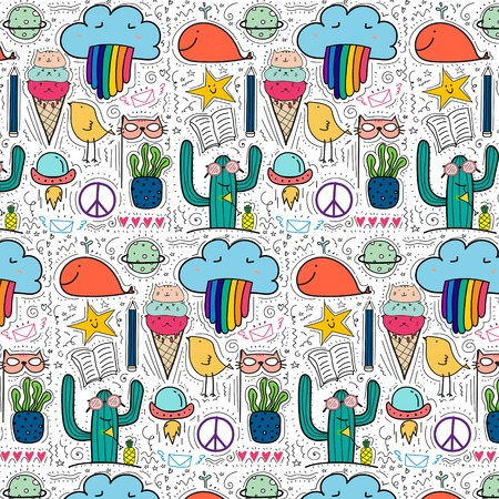 Pattern With Hand Drawn Doodle Lovely Background. Doodle Funny. 일러스트