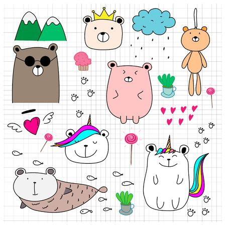Doodle Cute Bear Set. Hand Drawn Style Vector Illustration. 일러스트