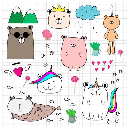 Doodle Cute Bear Set. Hand Drawn Style Vector Illustration. Illustration