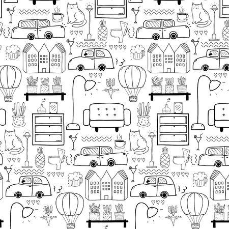 Line Hand Drawn Doodle Living Pattern Background. Vector Illustration. Illustration
