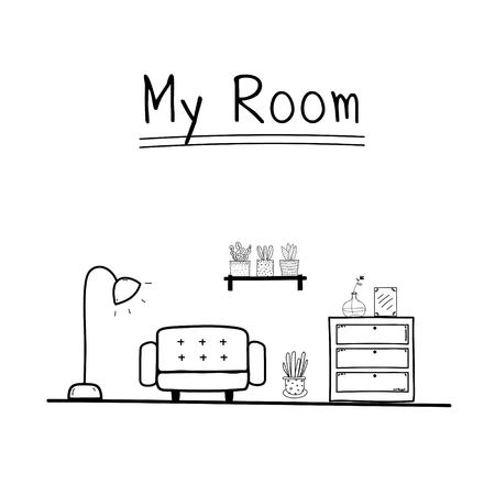 My Room. Doodle Living Room Vector Illustration Background.