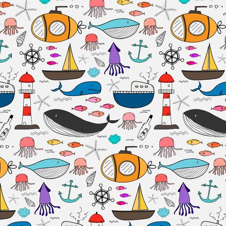 Hand Drawn Pattern With Sea Background. Vector Illustration.