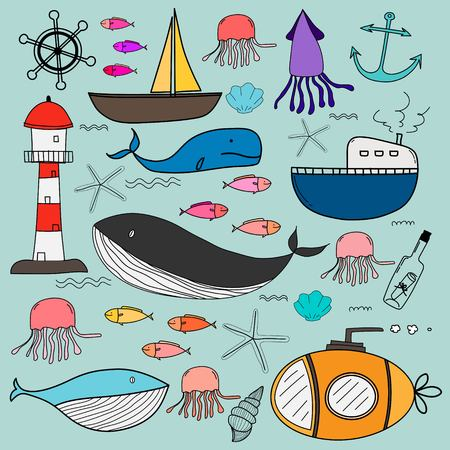 Hand Drawn Sea Doodles Set. Vector Illustration. Illustration