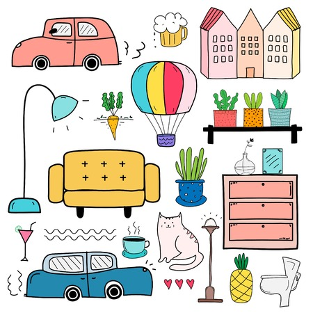 Hand Drawn Doodle Living, lifestyle Vector Set.