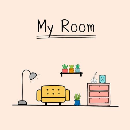My Room, Doodle Living Room Vector Illustration. 일러스트