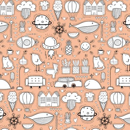Background Pattern With Doodle Funny For Kids.