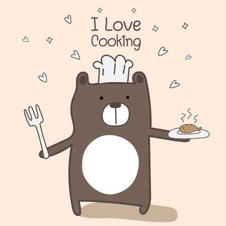 Cute Bear Chef Is Cooking. Vector Illustration. 일러스트