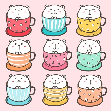 Set Of Cute Bear In The Cup. Vector Illustration.