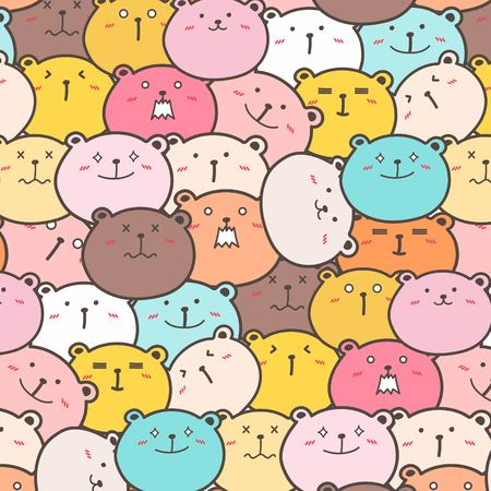 Cute Bears Vector Pattern Background. Fun Doodle. Handmade Vector Illustration. Illustration