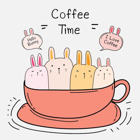 Cute Bunny In The Cup. Coffee Time Vector Illustration. Illustration