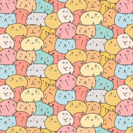 Cute Cats Vector Pattern Background. Fun Doodle. Handmade Vector Illustration. 일러스트
