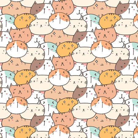 Cute Cats Vector Pattern Background. Fun Doodle. Handmade Vector Illustration. Illustration