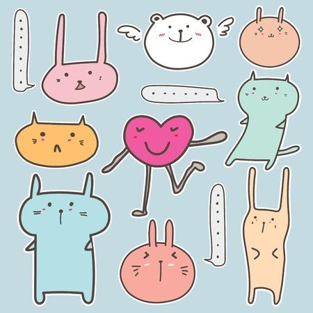 Set Of Cute Animal Sticker. Vector Illustration.