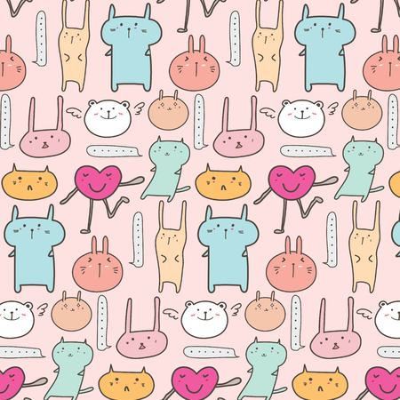 Cute Animal Pattern Background. Vector Illustration.