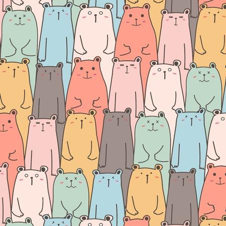 Hand Drawn Cute Bears Vector Pattern Background. Handmade Vector Illustration. Illustration