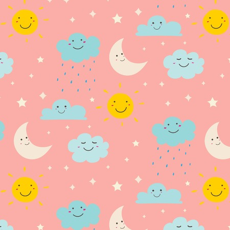 Smiling Cute Clouds Pattern Background. Vector Illustration.