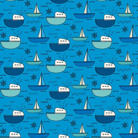Hand Drawn Fishing Boat Pattern Background. Vector Illustration. Illustration