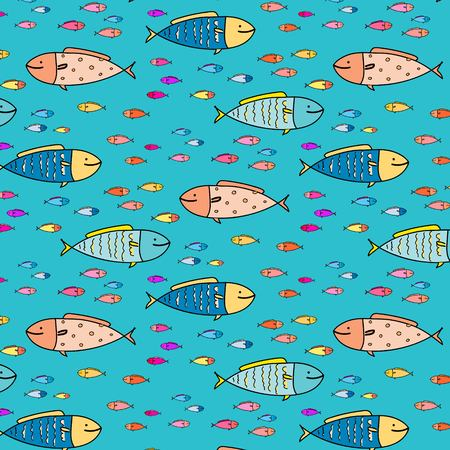 Hand Drawn Abstract Fish Pattern Background. Vector Illustration. Ilustrace