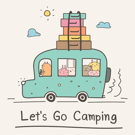 Lets Go Camping Concept. Hand Drawn Cute Animal On Van Vector Illustration.