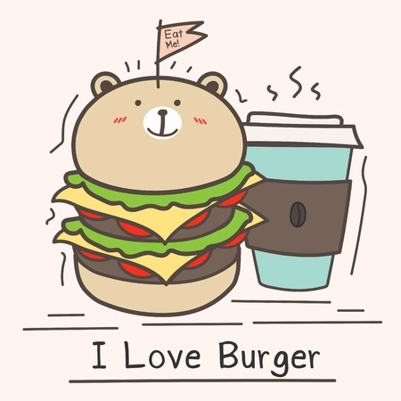 I Love Burger Concept With Cute Bear Burger And Coffee Cup.