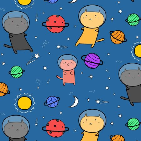 Hand Drawn Cute Cats Astronauts In The Space Pattern Background.