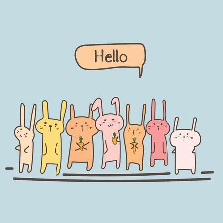 Cute Bunny Say Hello Set. Vector Illustration.