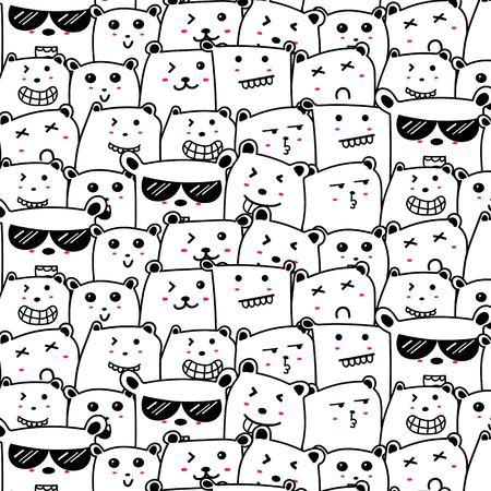 Cute Bears Doodle Art Pattern Background. Vector Illustration.