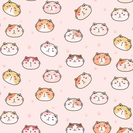 Cute Cats Vector Pattern Background. Fun Doodle. Handmade Vector Illustration. Illusztráció