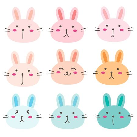 Hand Drawn Bunny Cute Characters Set. Vector Illustration.