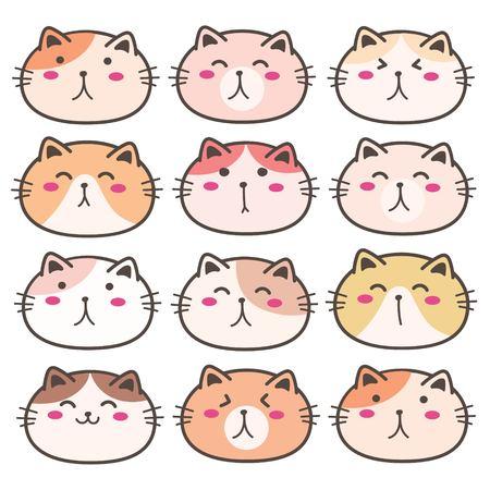 Hand Drawn Cute Cat Characters Set. Vector Illustration. Illusztráció