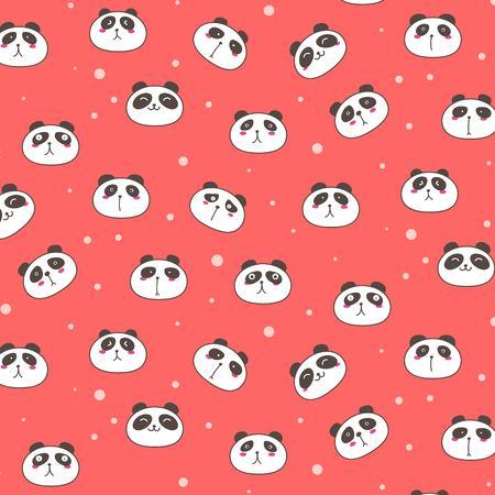 Cute Panda Vector Pattern Background. Fun Doodle. Handmade Vector Illustration.