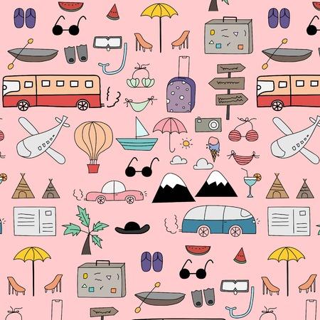 Hand Drawn Doodle Vector Travel Pattern Background. Vector Illustration. Illusztráció