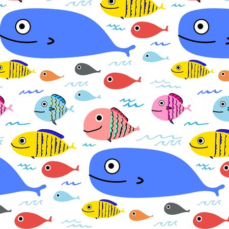 Abstract Colorful Fish Pattern Background. Vector Illustration.