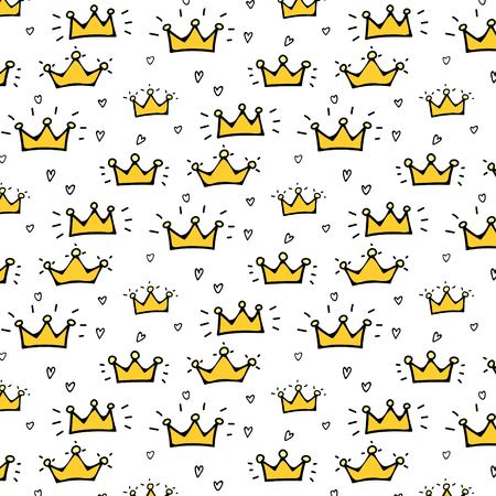Hand Drawn Crown Vector Pattern Background. Vector Illustration.