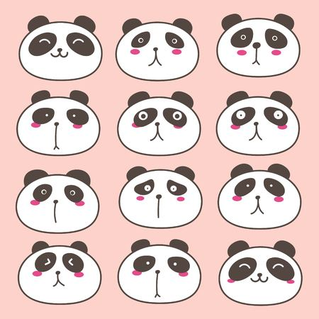 Hand Drawn Cute Panda Characters Set. Vector Illustration.