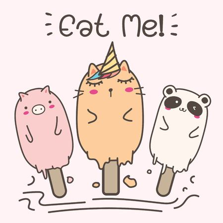 Cute Animal Ice Cream. Hand Drawn Vector Illustration. 일러스트