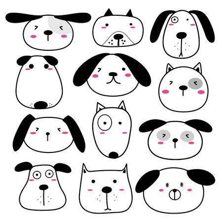 Hand Drawn Cute Dog Face Characters Set. Vector Illustration.