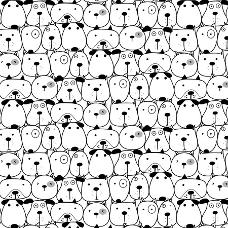 Hand Drawn Cute Dogs Pattern Background. Vector Illustration. Illustration